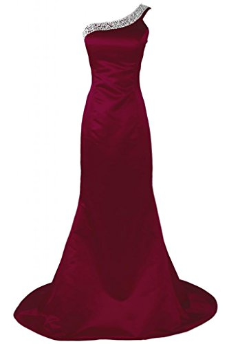 Sunvary Charming raso abito lungo sirena Prom Pageant Evening Dress Borgogna