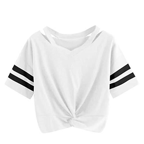 1106d5822f3395 Weant Damen Sommer T-Shirts Riemen Rundhals Tie up Kurzarm Crop Top Saum  Streifen Shirt. bluse damen elegante schwarze bluse festliche weiße ...
