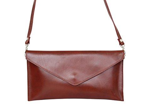 AMBRA Moda Damen Wildleder Envelope Clutch Handschlaufe Handtasche Schultertasche Unterarmtasche Damentasche Veloursleder WL801 Braun Rindsleder