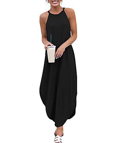 YOINS Robe Longue Été Chic Femme Robe Maxi Élégante Robe Soirée Asymétrique Robe Tunique Bohême Bretelles Grand Taille A-Noir EU 44