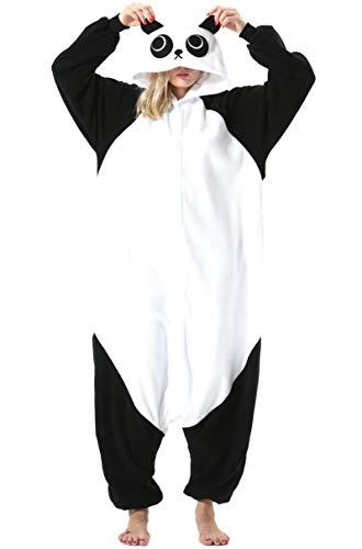 Damen Herren Jumpsuit Onesie Tier Fasching Halloween Kostüm Lounge Sleepsuit Cosplay Overall Pyjama Schlafanzug Erwachsene Unisex Panda for Höhe 140-187CM