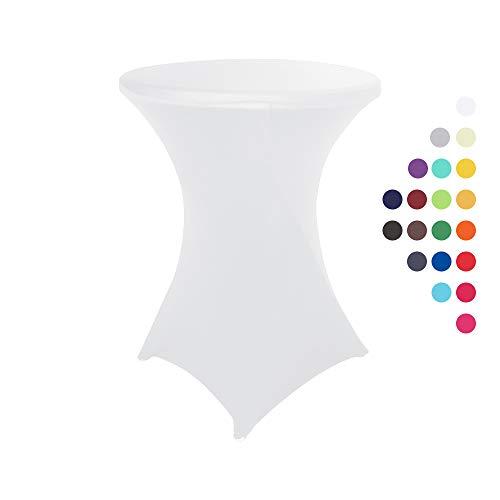HAORUI Stretch Stehtischhussen, Elastische Tischdecken, Spandex Hussen für Rund, Cocktail Bistrotisch und Dekoration für Hochzeiten, Feiern(80cm Weiß)
