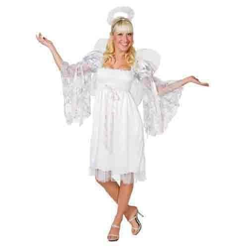 Damen-Kostüm Engel, 3 tlg. weiß, Einheitsgröße (Gesmokt Kinder Weihnachten Kleider)