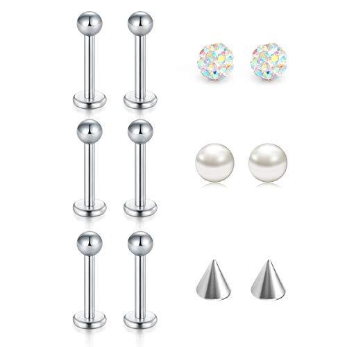 Zolure 16 Gauge Labret Piercing Stud Lippenpiercing Ohrstecker Helix Monroe Ohr Piercing Set mit 3 Paare Kugeln Kristall/Perlen/Pfeil