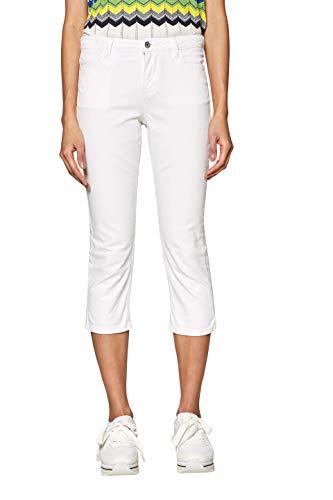 edc by ESPRIT Damen 039CC1B032 Straight Jeans, Weiß (White 100), W31 (Herstellergröße: 31) - Weiße Capri-jeans
