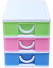 Kuber Industries Plastic Three Layer Drawer Storage Cabinet Box (Multi)-CTKTC013171