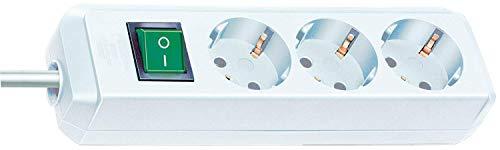 Brennenstuhl Eco-Line 3-fach Steckdosenleiste (Steckerleiste mit Kindersicherung, Schalter und 1,5 m Kabel) weiß
