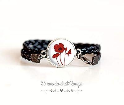 Bracelet double tresse noir, Cabochon Coquelicot rouge, Fleurs, rouge et blanc