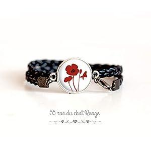 Armband Doppelarmband schwarz, Roter Mohn Cabochon, Blumen, rot und weiß