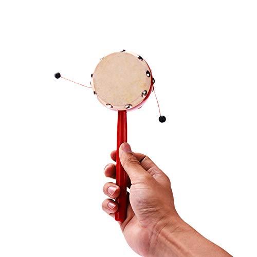 el Traditionelle Doppelseitige Schaffell Rassel Spin Spielzeug Chinesische Traditionelle Spielzeug Musikinstrumente Lernspielzeug für Baby 1 Stücke ()