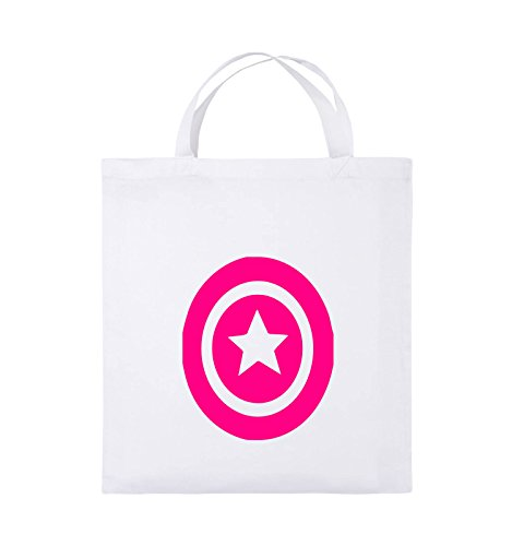 Comedy Bags - CAPTAIN AMERICA - Jutebeutel - kurze Henkel - 38x42cm - Farbe: Schwarz / Silber Weiss / Pink