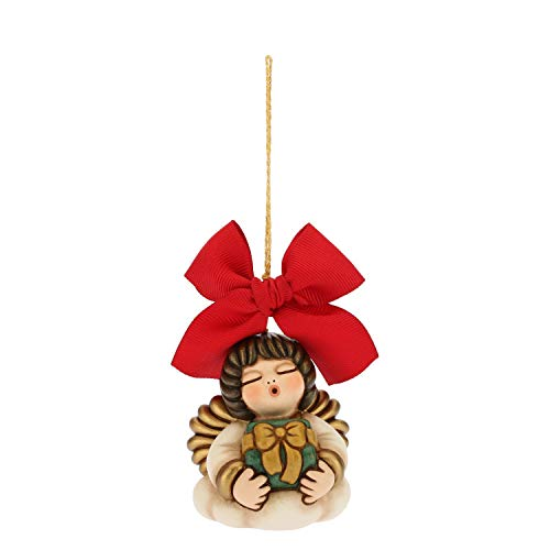 Thun® - angelo grande da appendere - addobbo natalizio per albero con fiocco rosso - ceramica - i classici