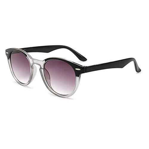 D&XQX Mode Unisex Runde Lesesonnenbrille Klare Linse HD Tragbare Presbyopie Brille Optische Brillen Dioptrien +1.0 +1.5 +2.0 +2.5 +3.0 +3.5,Grau,+3.0