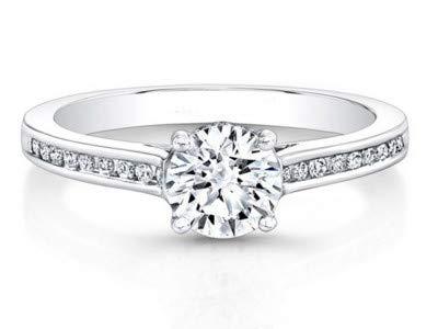 Für immer Diamant 18K massiv Weißgold Ringe für Frauen (alle verfügbaren Größen) 0,56 ct Runder Schnitt Echte Solitärdiamanten Jubiläumsringe Ausgezeichnete Bribal-Ringe - Forever Diamond