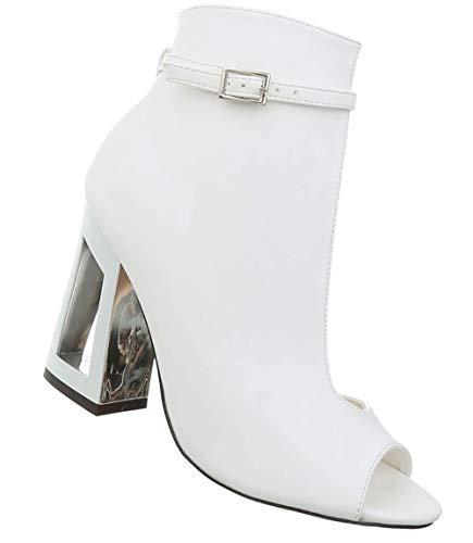 Damen Ankle Boots | Halbschaft Pumps | Extravagante Partypumps | Damenschuhe High Heels | Peep Toes Stiefelette | Sexy Sandalette Club Tanz | Weiß 38