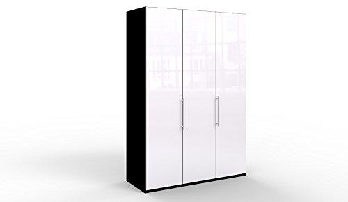 WIEMANN Loft Kleiderschrank, Schlafzimmerschrank, Gleittürenschrank, Drehtürenschrank, Glas weiß, schwarz, B/H/T 150 x 236 x 58 cm