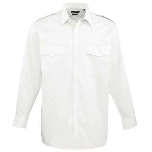 Premier Langarm-Pilot Shirt - 3 Farben / Kragen-Größe von 14,5 bi - White - 19.0 (White Collar Manschette-hemd)