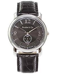 Boudier & Cie BSSM201 - Reloj de Cuarzo Analogico con movimiento Suizo para hombre, Esfera negra, Correa de Cuero negro