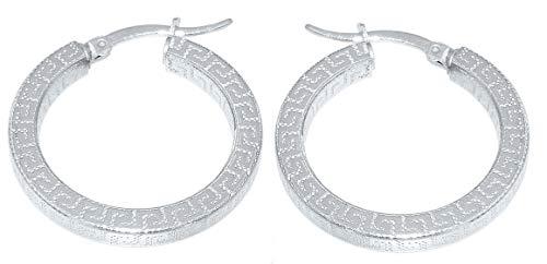 Hobra-Gold Creolen Silber 925 Mäander Muster Rohr quadratisch Ohrringe 2,6 od 3,6 cm Ø (2,6 cm) -