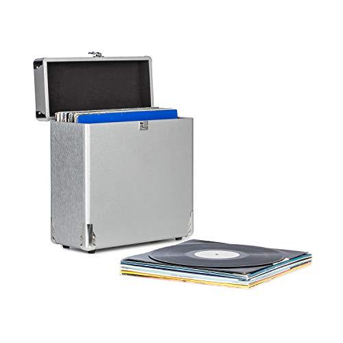 AUNA Vinylbox Alu - Custodia per Dischi in Vinile, Valigia per Dischi, Fino a 30 Dischi da 12'' (30 cm), Coperchio Apribile, Custodia in Alluminio, Colore Argento