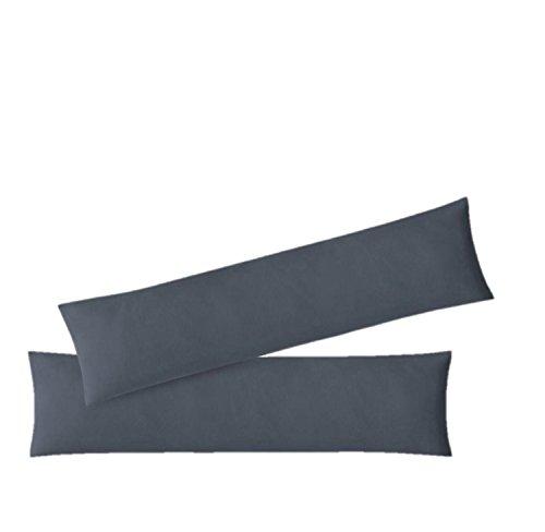 Kissenbezug Stillkissenhülle Seitenschläferkissenbezug 2er Set Sparpack Kissenhüllen mit Reißverschluss hochwertige Jersey Qualität 150g/m² 100% Baumwolle ÖKO-TEX 40x145 cm anthrazit
