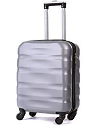 55x40x20cm Lightweight Ryanair Maximum Size Carry On Hand Cabin Luggage Suitcase,Bagaglio a Mano Unisex, (55cm-31.5L) (Argento)