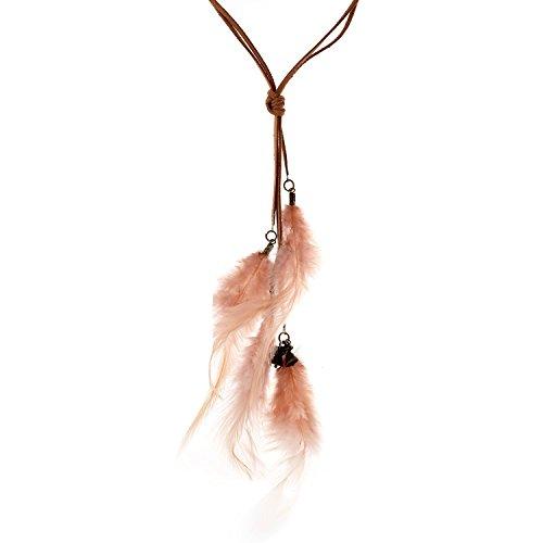 lureme böhmische Weinlese-Samt-String-Licht rosa Federn Anhänger Halskette (01003302)