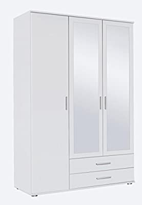 Rauch Rasant 3 Door 2 Mirror Hinged Wardrobe With 2 Drawers in an Alpine White Matte Finish produced by Rauch - quick delivery from UK.
