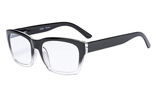 Eyekepper Federscharniere große quadratische Rahmen Lesebrille schwarz Klar +2.0