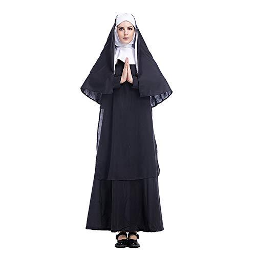 Halloween Kostüm Damen Anime Accessoires Karneval Fasching Jesus Christus Pastor Nonne Cosplay,Schwarz,M