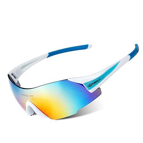 AUMING UV400 Sport-Sonnenbrille, polarisiert, Sportsonnenbrille, Superleichter Rahmen, für Herren und Damen, zum Laufen, Radfahren, Skifahren, Snowboarden. weiß/blau (Blau Polarisierten Sonnenbrillen)