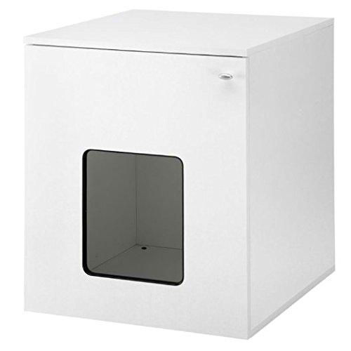 *Modernes Weiß Katze Schrank–Innovative und multifunktionale Katzentoilette/Liegehöhle mit Schwingtür, Regal–mit Gratis Katze Spielzeug*