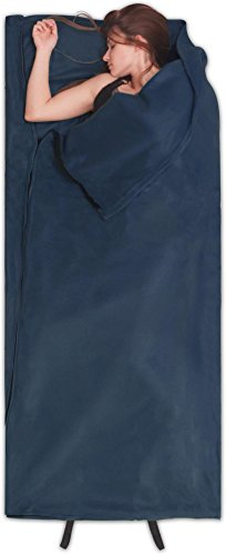 normani Fleece Schlafsack Hüttenschlafsack Inlet Liner - leicht, praktisch und warm [190 x 75 cm - 200g/m²] Farbe Navy -