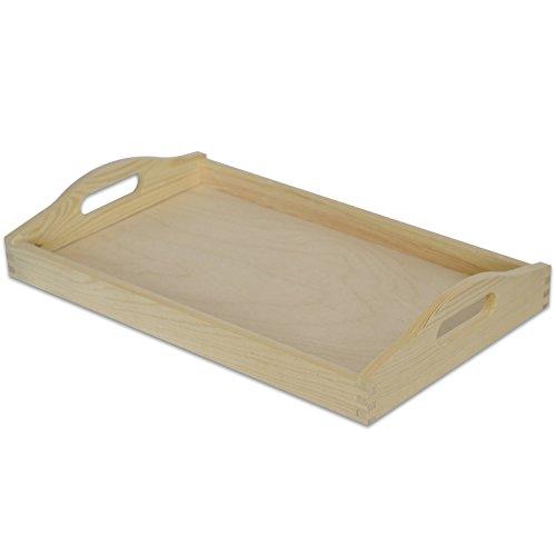 Serviertablett Tablett Holz mit Griff | 30 x 20 x 6,3 cm | Unbehandelt Holztablett Perfekt zum Servieren, Dekorieren, Küche und Frühstück ()