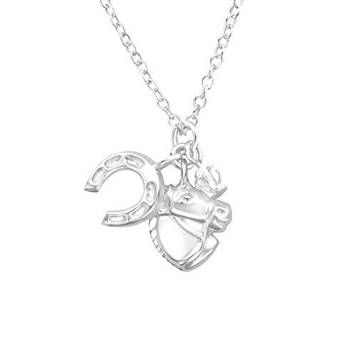 Tata gisele© collana a catena in argento 925/000rodiato–ciondolo argento 925/000e cristallo swarovski–cavallo e ferro a cavallo
