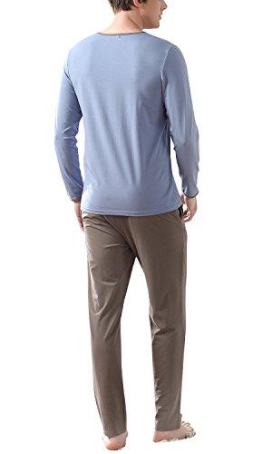 Dolamen Herren Schlafanzug Schlafanzughosen, Baumwolle Druck Zweiteiliger Pyjamas Lang Winter, Herren Schlafanzug V-Ausschnitt mit Tasche M L XL Blau