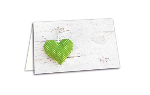 50 hell-grün weiße gepunktete HERZEN Holz-Optik blanko Tischkarten Namens-Schilder Sitzkarten Platzkarten Namens-Kärtchen für jeden Stift - zur Hochzeit Geburtstag Kommunion Taufe Jubiläum