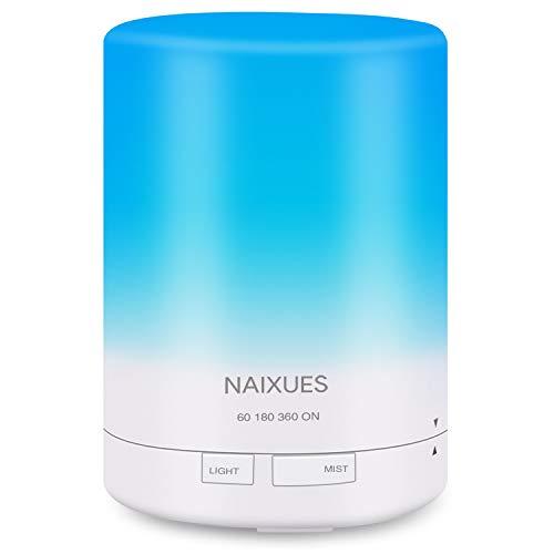 NAIXUES Humidificador Aromaterapia Ultrasónico 300ml, Difusores de Aceite Perfumado Aroma Aceites Esenciales de Vapor Frío 7-Color LED, Auto-Apaga, 4 Temporizador para Habitación Bebé Oficina