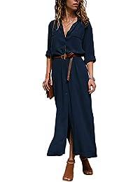96bf5565879 Dokotoo Robe Femme Maxi Manches Longues Chemise Robe Split avec Centure S-XL