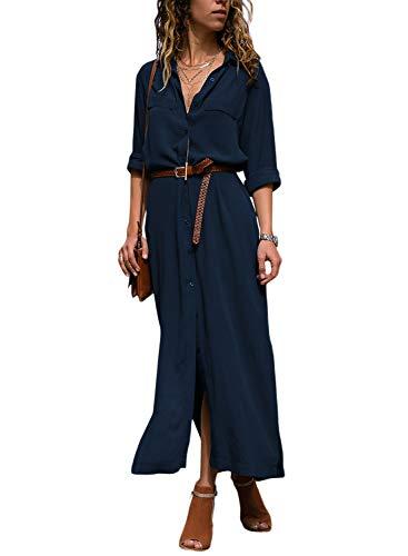 Dokotoo Robe Femme Maxi Manches Longues Chemise Robe Split avec Centure S-XL, A-noir, S(EU36-38)
