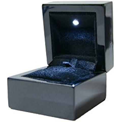 Luxury LED in legno gioielli anello box–nero lucido con inserto in velluto nero dsc014