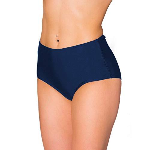 Aquarti Damen Bikinihose mit Hohem Bund, Farbe: Dunkelblau, Größe: 38 (Damen Hoch Taillierte Höschen)