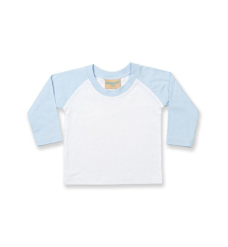 Larkwood Long Sleeved Baseball T Shirt in White/Pale Blue Größe: 18/24 Monate (Shirt Baseball Baby)