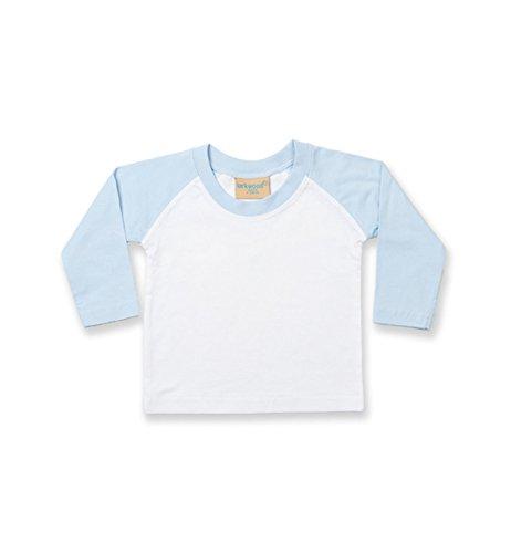 Larkwood Long Sleeved Baseball T Shirt in White/Pale Blue Größe: 18/24 Monate (Shirt Baby Baseball)