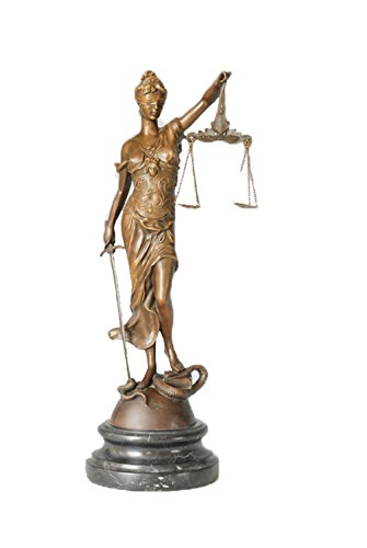 Toperkin 18 Inch Figurine Lawyer Home Decor Lady Justice Bronze Sculpture