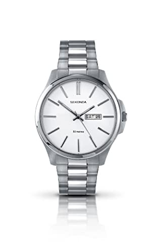 Sekonda Men's Quartz Watch with White Dial Analogue Display and Silver Stainless Steel Bracelet