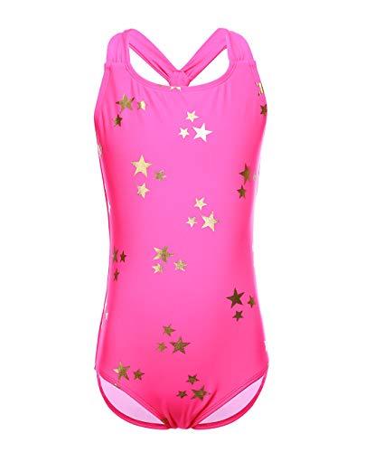 iDrawl Schwimmanzug Rosa Stern Bademode One Piece Swimwear für Mädchen 8-10 Jahre (Bademode Für Kinder, Mädchen One Piece)