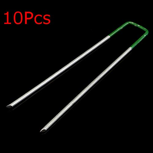 OKIl Klammern für Kunstrasen, U-Form, Metall, halb-grün, 10 Stück