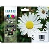 1x Original XL Tintenpatronen Set für Epson Expression Home XP 102 XP 202, C13T18164010 - BK, Cy, Ma, Ye - + 100 Blatt Ti-Sa Fotocards 10x15 cm 210g glossy