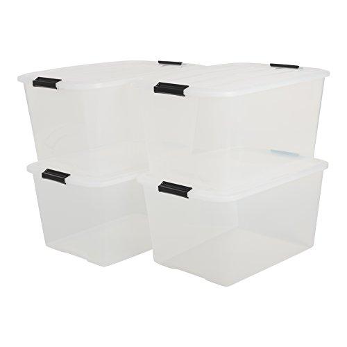 Iris Ohyama - set di 4 contenitori impilabili in plastica trasparente, con chiusura a scatto Linea Top Box - TB-45 - 45 litri - 30.5x57.5x39
